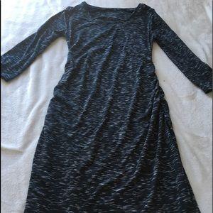 Black and grey maternity maxi dress